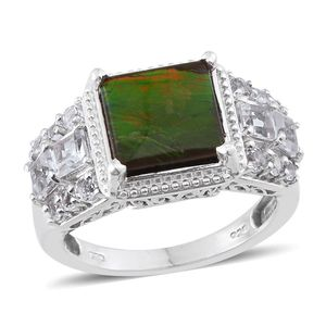 Canadian Ammolite, White Topaz Platinum Over Sterling Silver Ring (Size 6.0) TGW 4.87 cts.