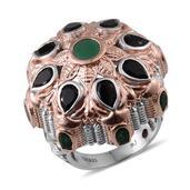 Royal Jaipur Sakota Emerald, Multi Gemstone 14K RG and Platinum Over Sterling Silver Statement Ring (Size 6.0) TGW 7.42 cts.
