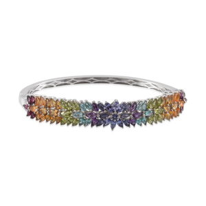 Multi Gemstone Platinum Over Sterling Silver Bangle (7.5 in) TGW 11.09 cts.
