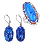 TLV Lab Created Blue Opal, Multi Color Austrian Crystal Stainless Steel Halo Ring (Size 10) and Lever Back Earrings TGW 23.00 cts.