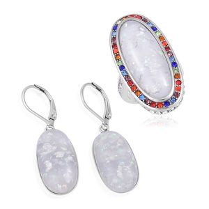 TLV Lab Created White Opal, Multi Color Austrian Crystal Stainless Steel Halo Ring (Size 7) and Lever Back Earrings TGW 23.00 cts.