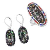 TLV Lab Created Black Opal, Multi Color Austrian Crystal Halo Ring (Size 9) and Lever Back Earrings in Stainless Steel TGW 23.00 cts.