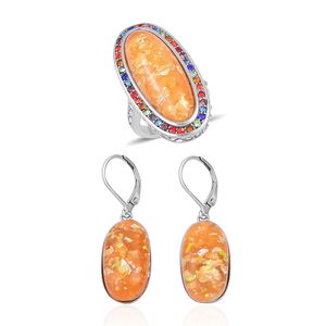 TLV Lab Created Orange Opal, Multi Color Austrian Crystal Stainless Steel Halo Ring (Size 7) and Lever Back Earrings TGW 23.00 cts.