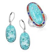 TLV Lab Created Green Opal, Multi Color Austrian Crystal Stainless Steel Halo Ring (Size 5) and Lever Back Earrings TGW 23.00 cts.