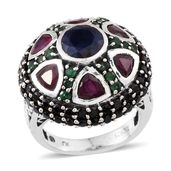 Royal Jaipur Kanchanaburi Blue Sapphire, Multi Gemstone Sterling Silver Dome Ring (Size 6.0) TGW 9.30 cts.