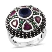 Royal Jaipur Kanchanaburi Blue Sapphire, Multi Gemstone Sterling Silver Dome Ring (Size 8.0) TGW 9.295 cts.