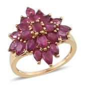 Niassa Ruby 14K YG Over Sterling Silver Ring (Size 9.0) TGW 6.700 cts.