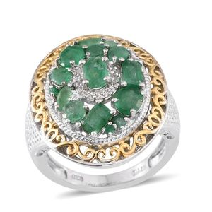 Kagem Zambian Emerald, Brazilian Emerald, White Topaz 14K YG and Platinum Over Sterling Silver Statement Ring (Size 6.0) TGW 2.66 cts.