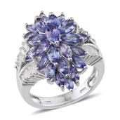 Tanzanite, White Topaz Platinum Over Sterling Silver Statement Split Ring (Size 7.0) TGW 6.940 cts.