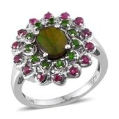 Canadian Ammolite, Ruby, Russian Diopside Platinum Over Sterling Silver Ring (Size 7.0) TGW 2.700 cts.