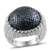 Blue Diamond (IR), Diamond Platinum Over Sterling Silver Dome Ring (Size 8.5) TDiaWt 0.50 cts, TGW 0.50 cts.