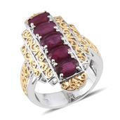Niassa Ruby 14K YG and Platinum Over Sterling Silver 5 Stone Ring (Size 7.0) TGW 6.550 cts.