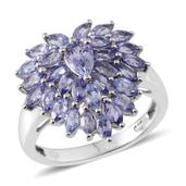 Tanzanite Platinum Over Sterling Silver Ring (Size 7.0) TGW 2.920 cts.