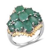 Kagem Zambian Emerald 14K YG and Platinum Over Sterling Silver Ring (Size 8.0) TGW 5.49 cts.