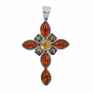 Baltic Multi Color Amber Sterling Silver Cross Pendant without Chain