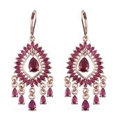 Niassa Ruby 14K RG Over Sterling Silver Lever Back Chandelier Earrings TGW 14.69 Cts.