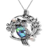 Creature Couture - Abalone Shell, White and Black Austrian Crystal, Simulated Pearl Silvertone Owl Pendant With Stainless Steel Chain (20 in) TGW 2.000 cts.