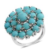 Sonoran Blue Turquoise, Diamond Platinum Over Sterling Silver Ring (Size 6.0) TDiaWt 0.05 cts, TGW 7.21 cts.