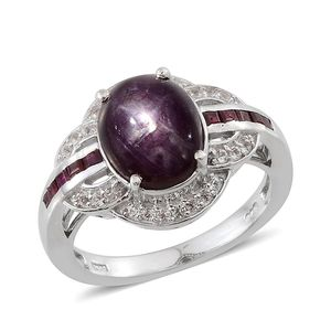 Kenyan Ruby, Ruby, White Topaz Platinum Over Sterling Silver Ring (Size 7.0) TGW 6.110 cts.