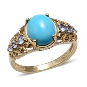 Arizona Sleeping Beauty Turquoise, Tanzanite 14K YG Over Sterling Silver Fancy Filigree Ring (Size 10.0) TGW 3.270 cts.
