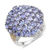Tanzanite 14K YG and Platinum Over Sterling Silver Cluster Ring (Size 9.0) TGW 8.400 cts.