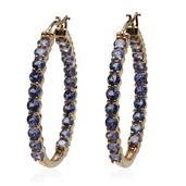 Tanzanite 14K YG Over Sterling Silver Inside Out Hoop Earrings TGW 9.000 cts.