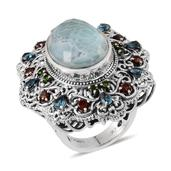 Royal Jaipur Larimar, Multi Gemstone Platinum Over Sterling Silver Statement Ring (Size 6.0) TGW 24.011 cts.
