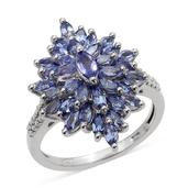 Tanzanite Platinum Over Sterling Silver Ring (Size 9.0) TGW 3.351 cts.