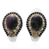 Ruby Zoisite, Thai Black Spinel 14K YG and Platinum Over Sterling Silver J-Hoop Earrings TGW 22.820 cts.