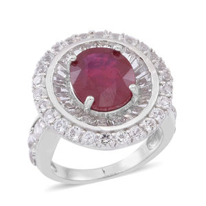 Niassa Ruby, White Topaz Sterling Silver Ring (Size 7.0) TGW 10.530 cts.