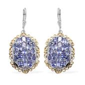Tanzanite 14K YG and Platinum Over Sterling Silver Lever Back Earrings TGW 7.330 cts.