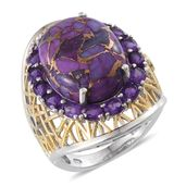 Mojave Purple Turquoise, Amethyst 14K YG and Platinum Over Sterling Silver Ring (Size 7.0) TGW 20.650 cts.