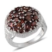 Umba River Zircon, Multi Gemstone Platinum Over Sterling Silver Cluster Ring (Size 10.0) TGW 7.390 cts.