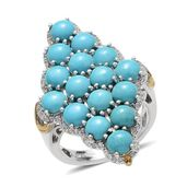 Arizona Sleeping Beauty Turquoise, White Topaz 14K YG and Platinum Over Sterling Silver Ring (Size 6.0) TGW 7.390 cts.