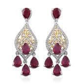 Niassa Ruby, White Topaz 14K YG and Platinum Over Sterling Silver Earrings TGW 10.280 cts.