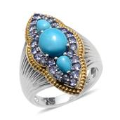 Arizona Sleeping Beauty Turquoise, Tanzanite 14K YG and Platinum Over Sterling Silver Ring (Size 7.0) TGW 4.250 cts.