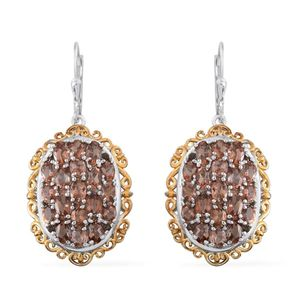 Jenipapo Andalusite, Brazilian Smoky Quartz 14K YG and Platinum Over Sterling Silver Lever Back Earrings TGW 8.66 cts.