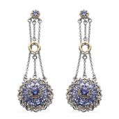 Tanzanite 14K YG and Platinum Over Sterling Silver Chandelier Earrings TGW 6.08 cts.