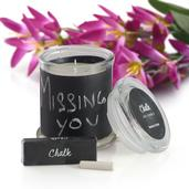 Customizable Chalkboard Scented Candle with Chalk Set Avg Burn Time 38 hours (Vanilla)