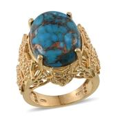 Mojave Blue Turquoise, White Topaz 14K YG Over Sterling Silver Ring (Size 6.0) TGW 18.80 cts.