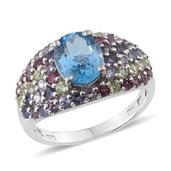 Electric Blue Topaz, Multi Gemstone Platinum Over Sterling Silver Ring (Size 9.0) TGW 5.730 cts.