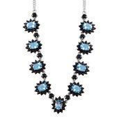 Electric Blue Topaz, Thai Black Spinel Platinum Over Sterling Silver Necklace (18 in) TGW 15.60 Cts.