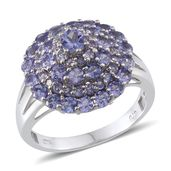 Tanzanite Platinum Over Sterling Silver Cluster Ring (Size 9.0) TGW 3.19 cts.