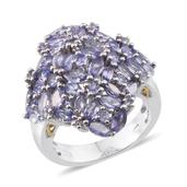 Tanzanite Platinum Over Sterling Silver Cluster Statement Ring (Size 7.0) TGW 6.24 cts.