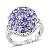 Tanzanite, Diamond Platinum Over Sterling Silver Cluster Ring (Size 7.0) TDiaWt 0.08 cts, TGW 4.170 cts.
