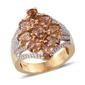Jenipapo Andalusite, Simulated Diamond 14K YG and Platinum Over Sterling Silver Ring (Size 6.0) TGW 5.050 cts.