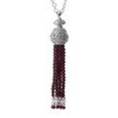 Hidden Treasures Contemporary, Mozambique Garnet, White Zircon Platinum Over Sterling Silver Necklace (30 in) TGW 54.10 Cts.