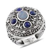 Tribal Collection of India Australian Boulder Opal, Lapiz Lazuli Sterling Silver Ring (Size 6.0) TGW 1.860 cts.