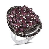 Orissa Rhodolite Garnet, Thai Black Spinel Platinum Over Sterling Silver Ring (Size 7.0) TGW 8.740 cts.