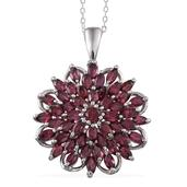 Orissa Rhodolite Garnet Platinum Over Sterling Silver Pendant With Chain (20 in) TGW 6.390 cts.